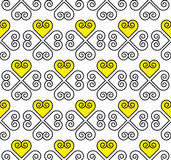 Yellow and black vector pattern with heart Royalty Free Stock Photo