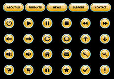 Yellow and Black Vector Web Buttons Royalty Free Stock Photos