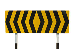 Yellow and black warning sign with clipping path. Yellow and black warning sign on white with clipping path Royalty Free Stock Photos
