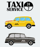 Yellow and black-white retro Taxi Cabs. Royalty Free Stock Images