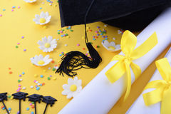 Yellow black and white theme graduation background stock photo