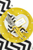 Yellow black and white theme Happy New Year table setting royalty free stock photography