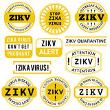 Yellow, black and white Zika Virus stamps. Royalty Free Stock Image
