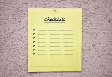 Yellow blank checklist Royalty Free Stock Images