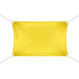 Yellow Blank Empty Horizontal Rectangular Banner. With Corners Ropes. Textile, Fabric or Nylon with Folds. Vector Illustration Isolated on Background. Ready Royalty Free Stock Photo