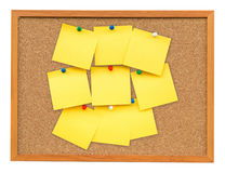Yellow blank note on Cork board on isolated white royalty free stock photos