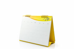 Yellow blank paper desk spiral calendar. Royalty Free Stock Photos