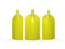 Yellow blank stand up  bag packaging with spout lid, clipping pa Royalty Free Stock Images