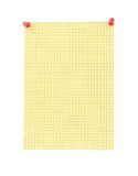 Yellow blank thumbtacked squared paper page Royalty Free Stock Photos