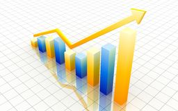 Yellow and blue 3d graph Stock Photo