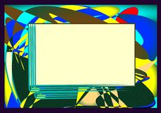 Yellow blue abstract background with empty space to add text. Abstract yellow blue background with rectangle framed to add text royalty free illustration