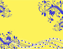 Yellow Blue Horizontal Illustration. This is a horizontal illustration of a background of swirls and flowers using  bright yellow and royal blue colors perfect Stock Photos