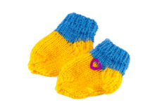 Yellow and Blue baby bootees for little babi Stock Photography