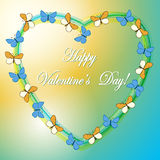 Yellow and blue vector background with heart and butterflies Royalty Free Stock Photo