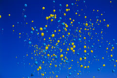Yellow and blue balloons Royalty Free Stock Photography
