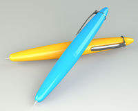 Yellow and blue ballpoint pen Stock Photo