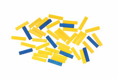 Yellow and blue beads. Stock Images