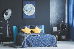 Yellow and blue bedroom interior Stock Image