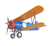 Yellow and blue biplane isolated on white background Royalty Free Stock Image