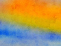 Yellow and Blue Blended Watercolor Paint Texture Stock Photos