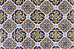 Yellow, blue, brown and white ceramic tiles background Royalty Free Stock Images