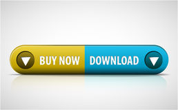 Yellow and blue Buy now / Download button Royalty Free Stock Image