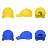 Yellow and Blue Caps Royalty Free Stock Photography