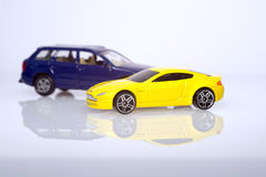 Yellow and blue cars toy set Royalty Free Stock Photos
