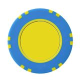 Yellow-blue casino chip Royalty Free Stock Photography