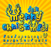 Yellow-blue christmas comic font. Alphabet in style pop art. Creative blue-yellow high detail comic font. Alphabet in style of comics and pop art. Multilayer Stock Image