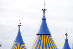 Yellow and Blue Circus Tent. A yellow and blue circus tent in the city Royalty Free Stock Photos