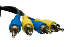 Yellow and blue coaxial cable Royalty Free Stock Photos