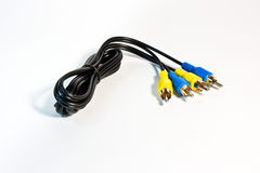 Yellow and blue coaxial cable Royalty Free Stock Images