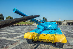 Yellow-blue color T-64 tank in Kiev near Mother Motherland statu Stock Photo
