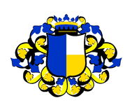 Yellow and blue crest  Royalty Free Stock Photo