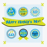 Yellow and blue cute circle Father's Day emblems and design set Stock Images