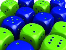 Yellow and Blue dice Royalty Free Stock Image