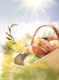 Yellow and blue Easter background, space Royalty Free Stock Photos