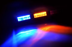 Yellow and Blue Emergency Lights. LED emergency lights with the colors blue and yellow Royalty Free Stock Photo
