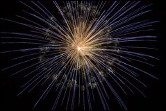 Yellow Blue Fireworks Stock Photos
