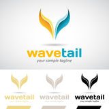 Yellow and Blue Fish Tail Logo Icon Royalty Free Stock Images