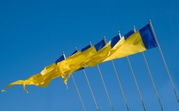 Yellow & Blue flags Royalty Free Stock Images