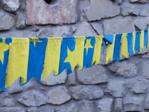 Yellow and blue flags. Royalty Free Stock Image