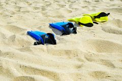 Yellow and blue flippers for diving lie on the sand in a row.  royalty free stock photos