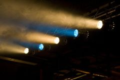 Yellow and blue footlights. Concert Illumination, footlights. Dimmed hall Royalty Free Stock Image