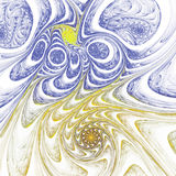 Yellow and blue fractal spirals. Digital artwork for creative graphic design Royalty Free Stock Photos