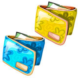 Yellow and blue glam womens wallets Royalty Free Stock Image