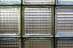 Yellow and blue glass brick window Royalty Free Stock Images