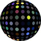 Yellow blue gray dots on black sphere 3d graphic. royalty free illustration