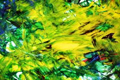 Yellow blue green abstract paint watercolor background, watercolor acrylic painting abstract background. Yellow blue green bright abstract paint strokes of brush stock photography